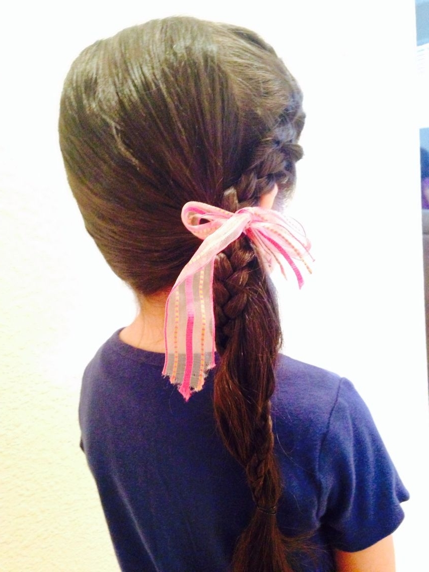 French Braided Bangs Then Tied Into A Low Side Ponytail With Braid Pertaining To Famous Low Side French Braid Hairstyles (View 4 of 15)