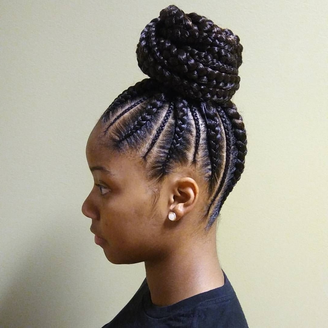 Ghana Braid Ponytail No Filter! Had To Get Her Right For Her Baby For Preferred Curvy Ghana Braids With Crown Bun (Gallery 6 of 15)