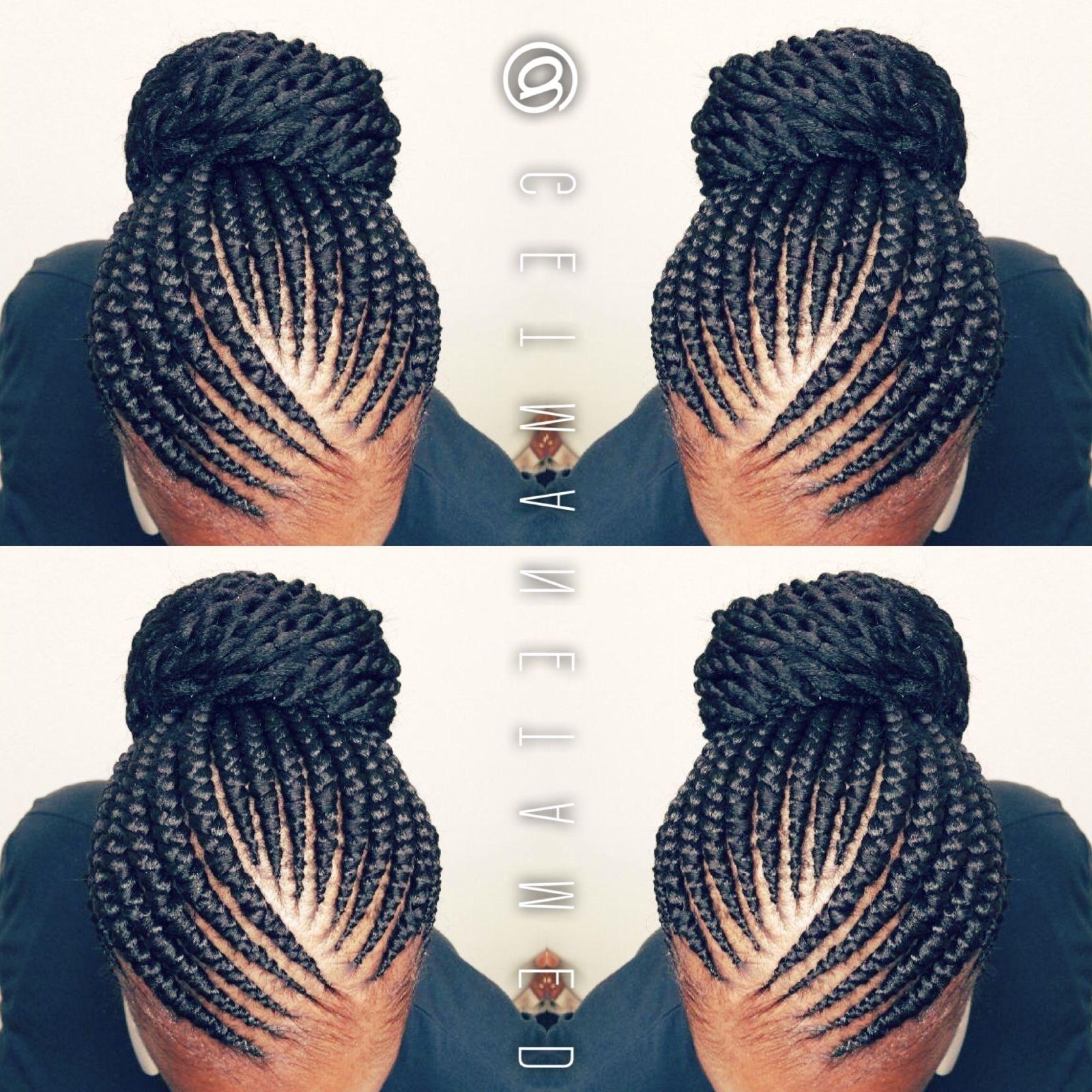 Ghana Braids. Ghana Cornrows. Banana Cornrows. Feed In Cornrows With Famous Ghana Braids Bun Hairstyles (Gallery 6 of 15)