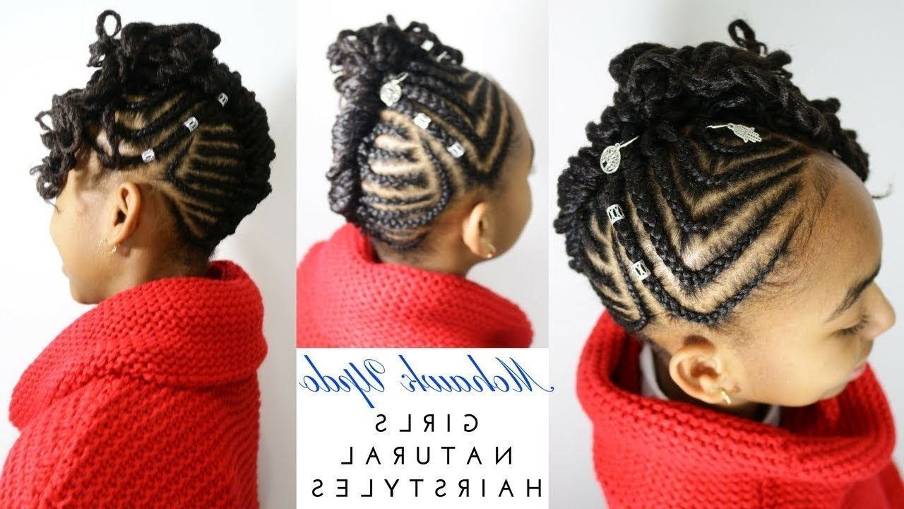 Girls Natural Hairstyles – Youtube With Widely Used Mohawk With Criss Crossed Braids (View 4 of 15)