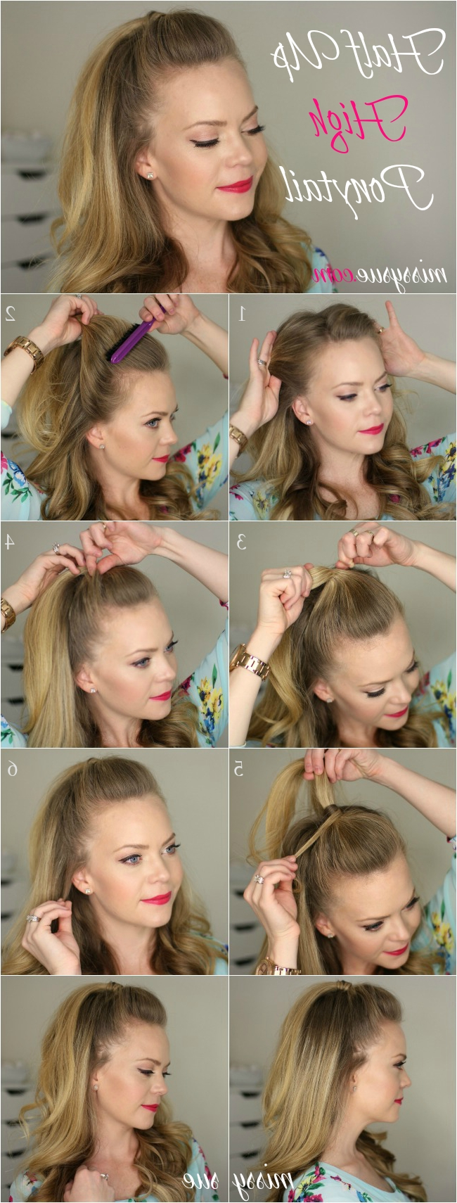Half Up High Ponytail Regarding Latest Wrapped Ponytail With In Front Of The Ear Braids (View 7 of 15)