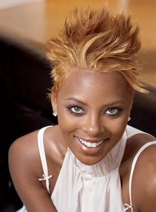 High Blonde Spiked Short Black Women Haircut (View 8 of 15)