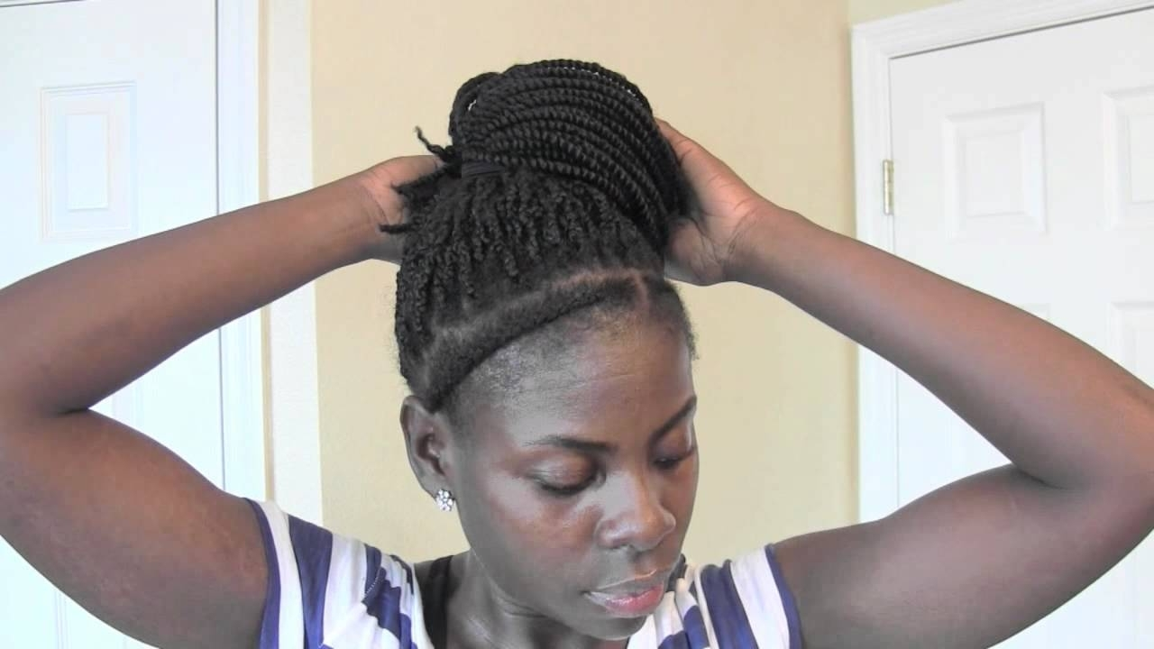 High Bun & Side Bun On Kinky Twist Hair – Youtube With Most Up To Date Cornrows With High Twisted Bun (View 9 of 15)