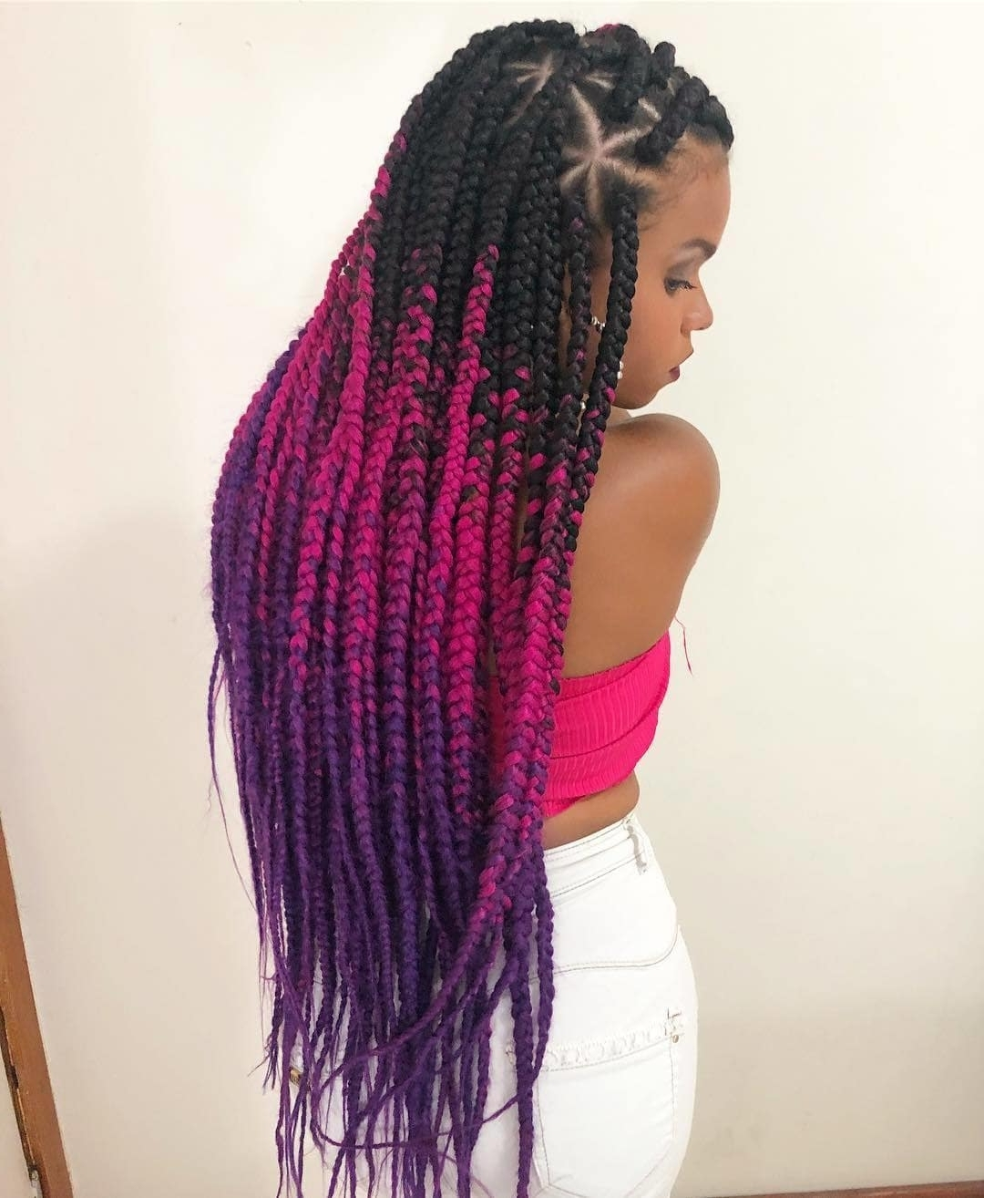 How Long Do Box Braids Last: All Your Styling Questions Answered With Well Known Purple Highlights In Black Braids (View 13 of 15)