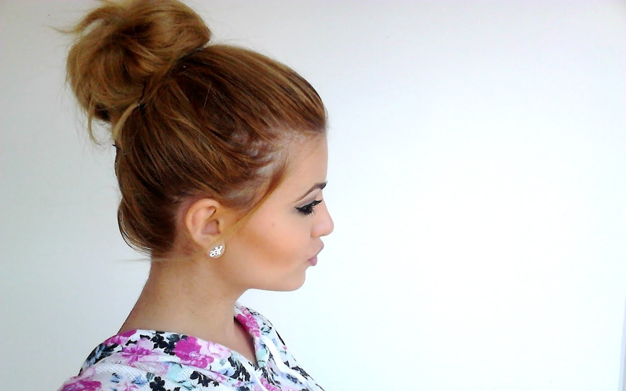 How To Big Messy Bun For Short Hair – Youtube Intended For Recent Casual Bun With Highlights (View 6 of 15)