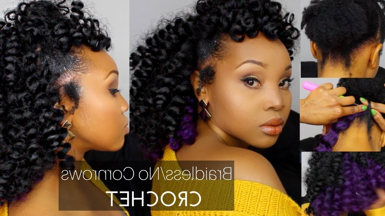 How To: Braidless/no Cornrows Crochet W/ Jamaican Bounce Hair – Youtube For Popular Cornrow Hairstyles For Graduation (View 7 of 15)