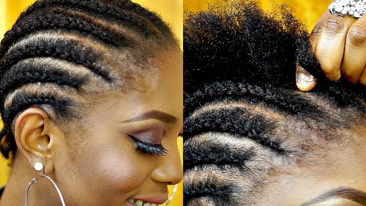 How To Cornrow Your Own Hair Short Natural Hair Tutorial – Youtube Throughout Widely Used Cornrows Hairstyles For Short Hair (View 6 of 15)