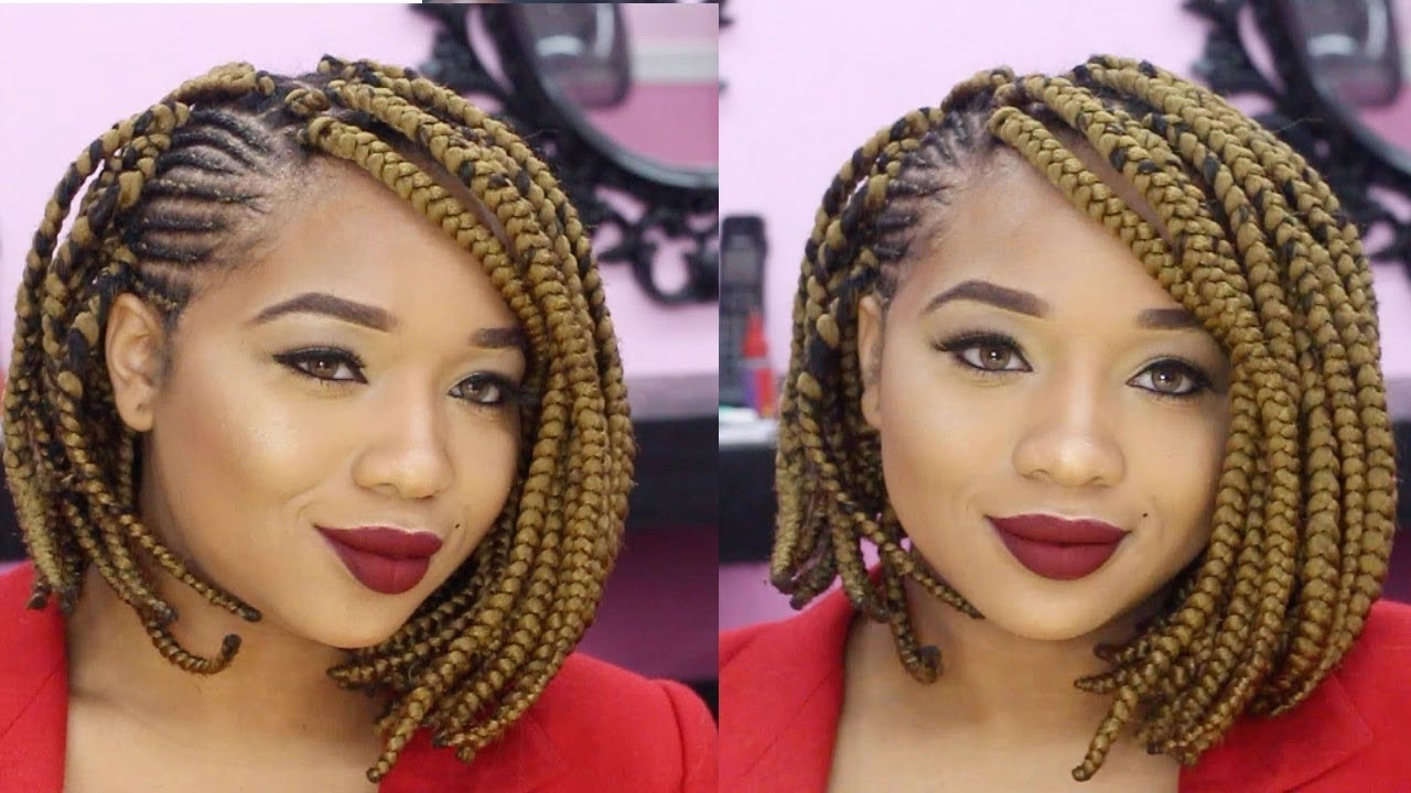 How To Do A Braided Bob With Cornrows!!!!! – Youtube Inside Best And Newest Cornrows Bob Hairstyles (View 9 of 15)