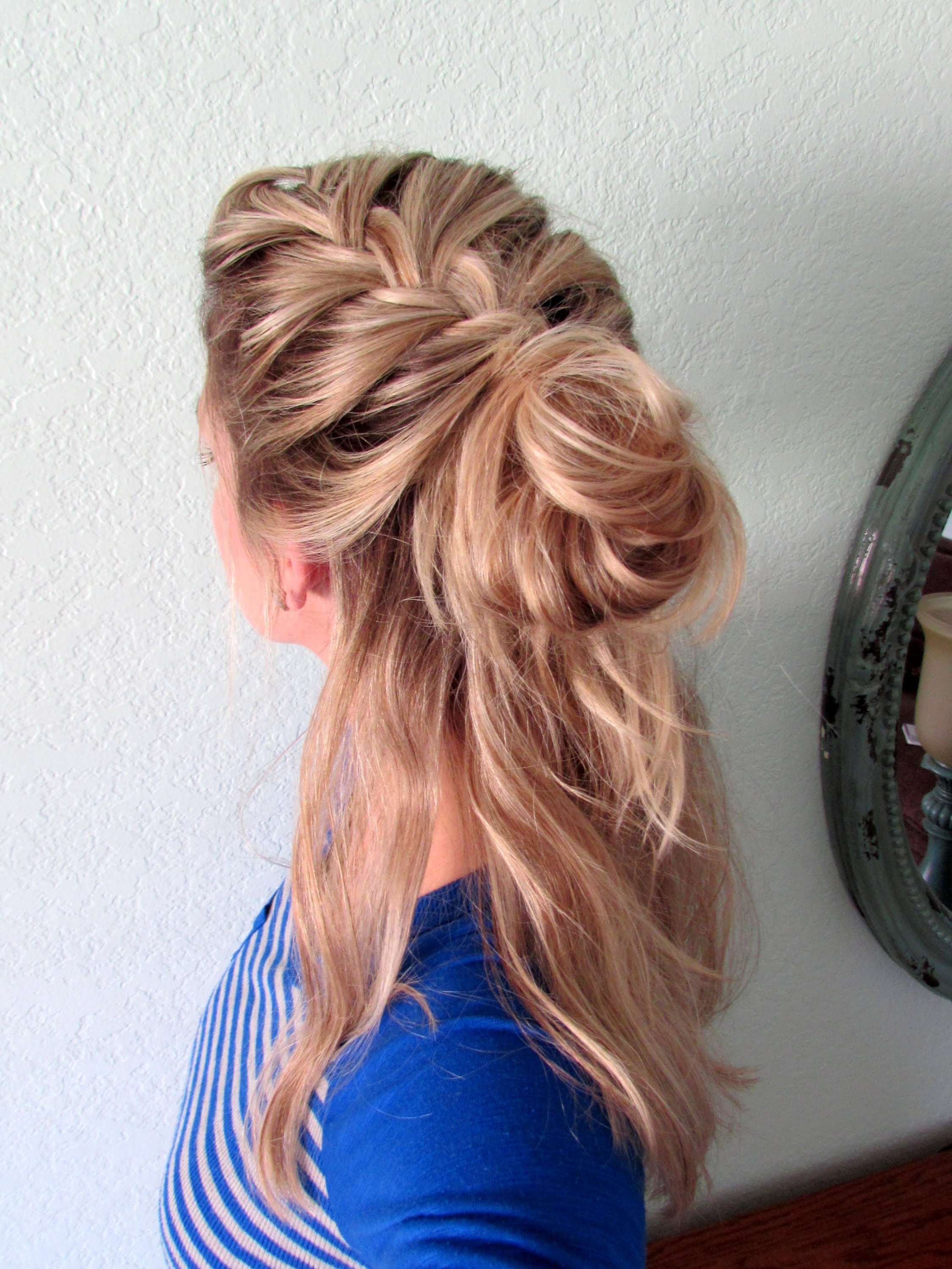 How To: Half Up French Braid Messy Bun – Youtube Within Most Popular Loose Side French Braid Hairstyles (View 9 of 15)