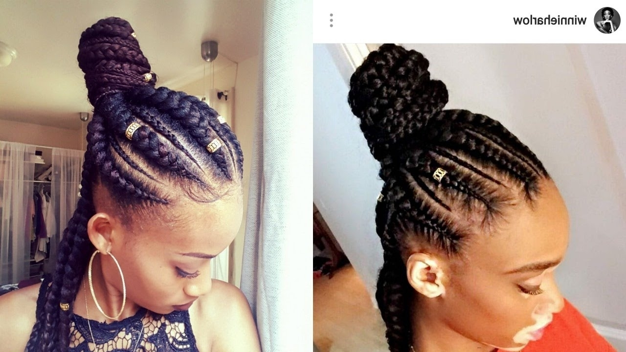 Featured Photo of Feed In Bun With Ghana Braids