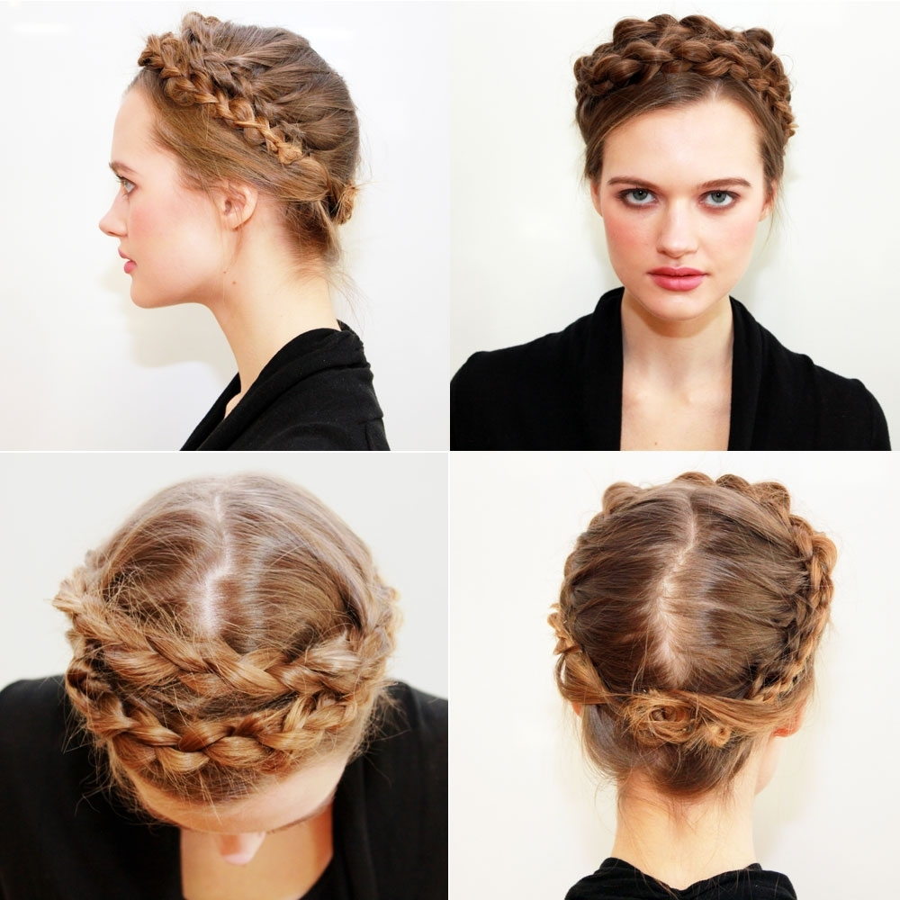 How To: Scandinavian Braided Crown From 2014 Fall/winter Nyfw Intended For Widely Used Bulky Braided Crown Bun (View 12 of 15)