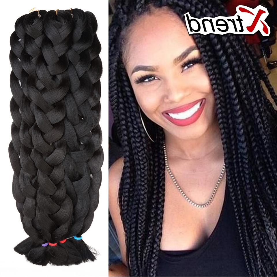 "Kanekalon Synthetic Braiding Hair Grey Blue White 42""165G Braiding Pertaining To Latest Purple Highlights In Black Braids (View 11 of 15)"