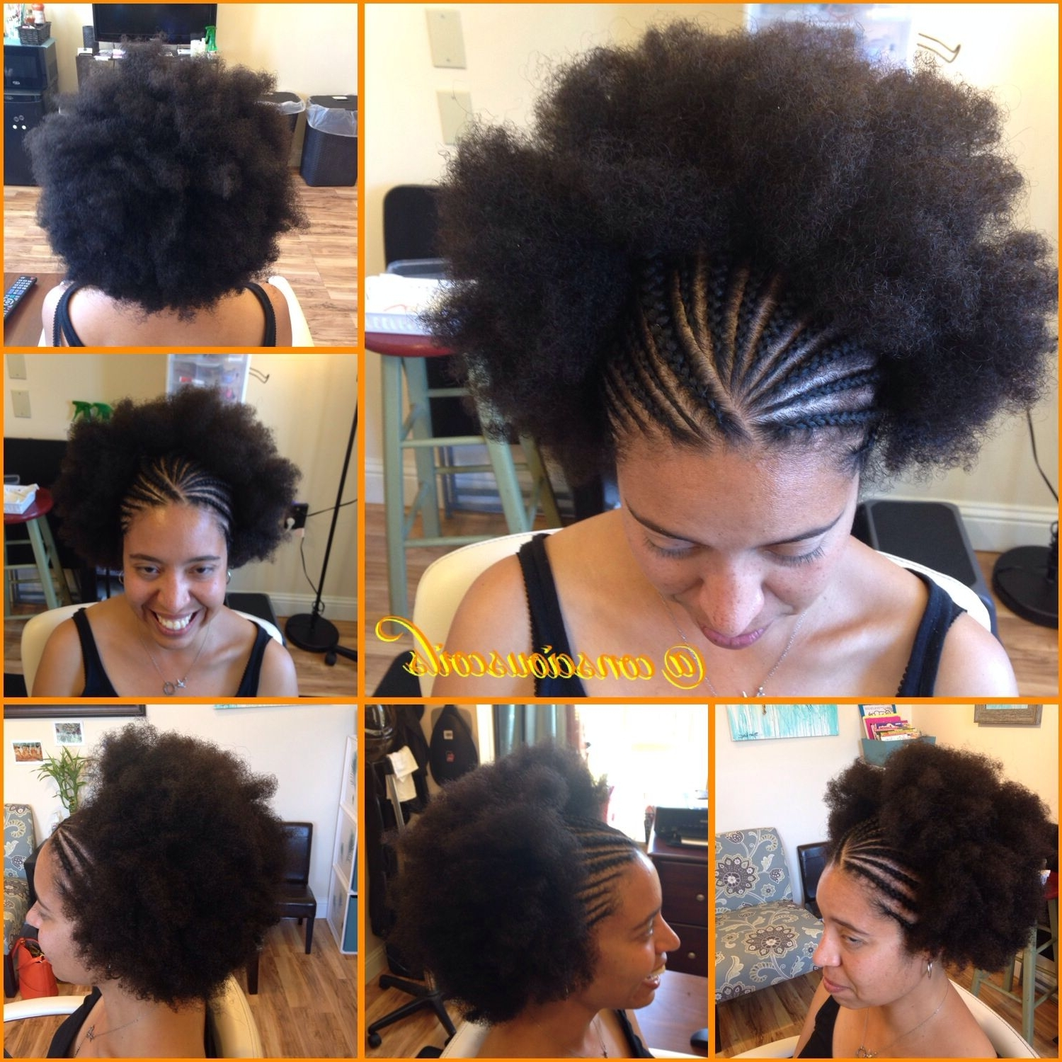 Latest Cornrows Hairstyles With Afro Intended For Style: Half Cornrows Hair Added: None (Yes That's All Hers (View 12 of 15)