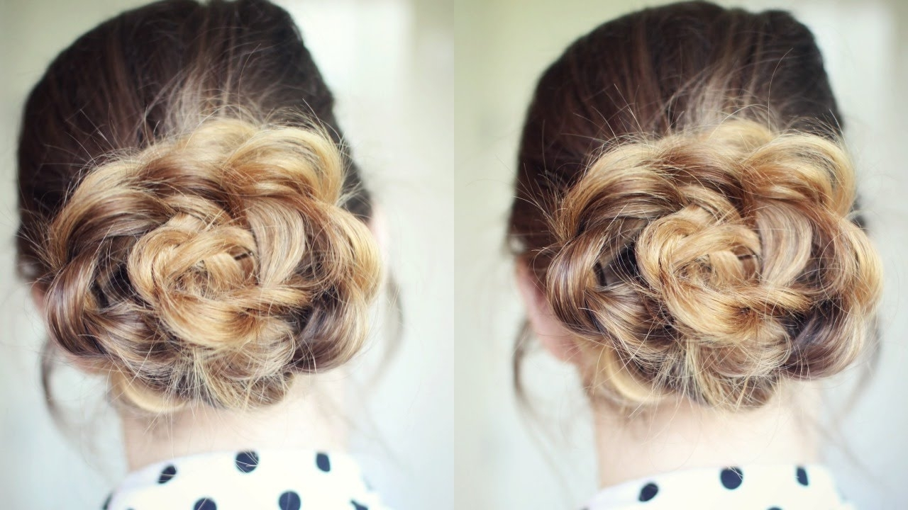 Latest French Braids In Flower Buns Within Quick And Easy Flower Bun Hairstyle (View 5 of 15)