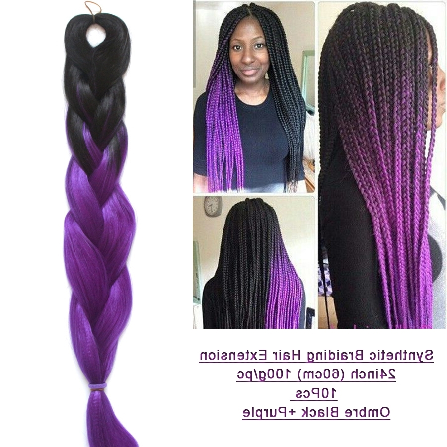 Latest Purple Highlights In Black Braids In Box Braids With Purple 1119664 – Emma Stone (View 9 of 15)