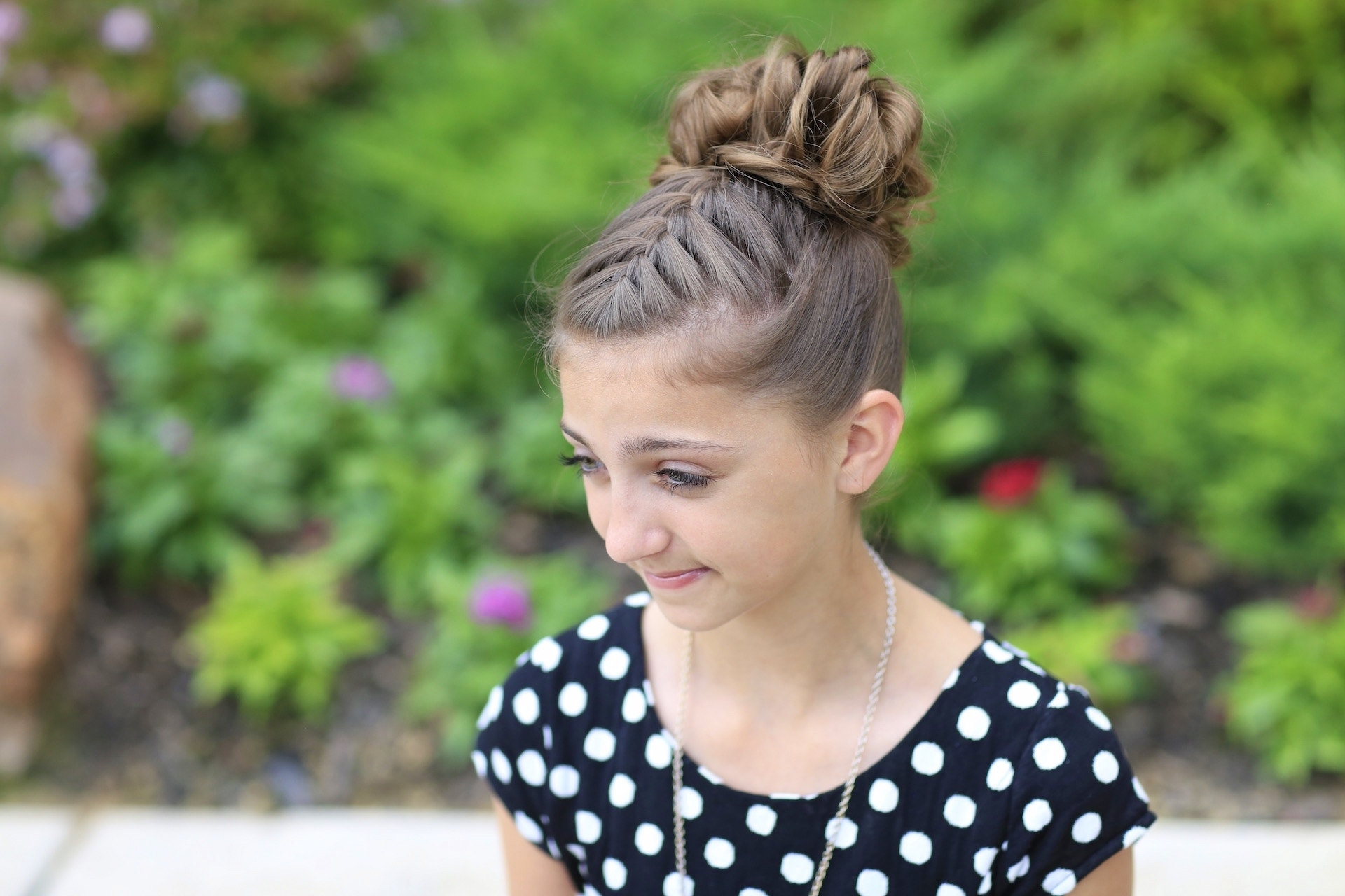 Latest Two French Braid Hairstyles With A Sock Bun Within Double French Messy Bun Updo (View 11 of 15)