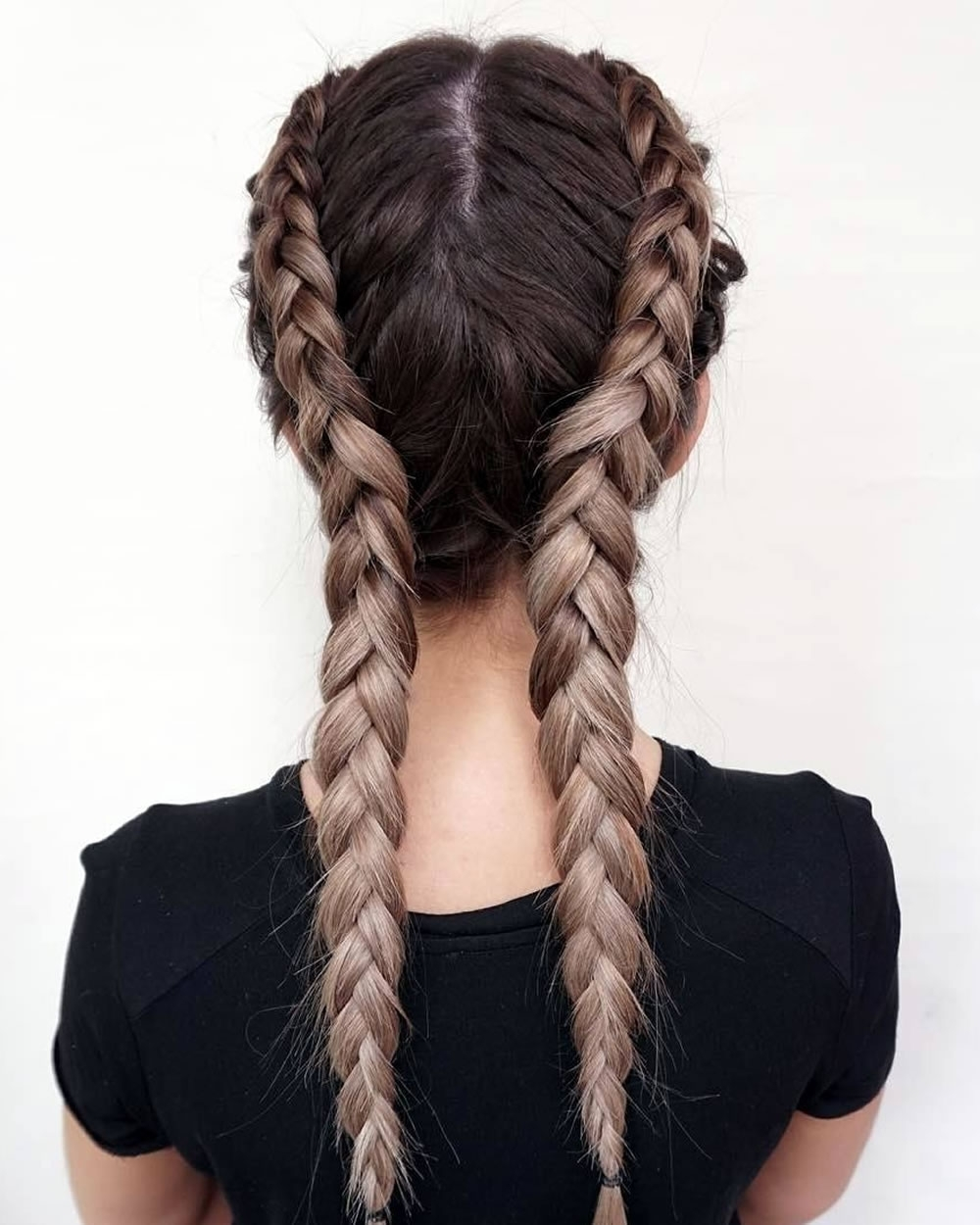 2019 Popular Two French Braids And Side Fishtail