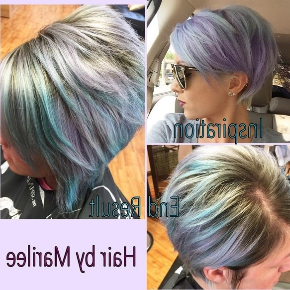 Lavender And Pale Blue With A Darker Base – Popular Haircuts Throughout 2018 Lavender Pixie Bob Haircuts (View 7 of 15)