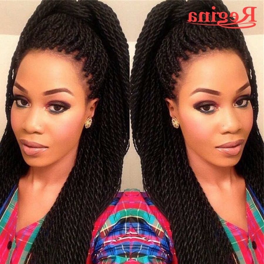Long Black Braided Front Lace Wig Synthetic Heat Resistant Crochet Regarding Popular Wigs Braided Hairstyles (View 8 of 15)