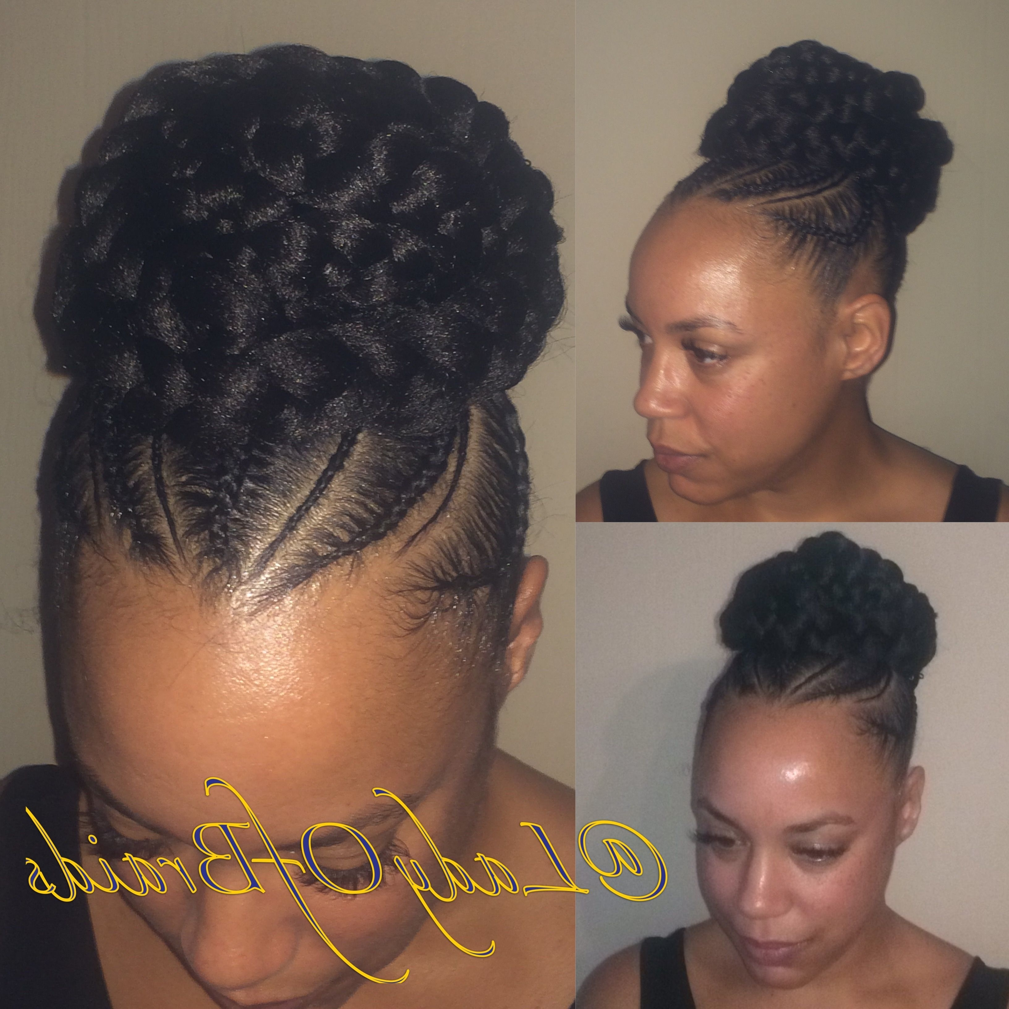 Love This Cute Goddess Braids Into A Bun Protective Hairstyle On Regarding Popular Cornrow Hairstyles Up In One (View 8 of 15)