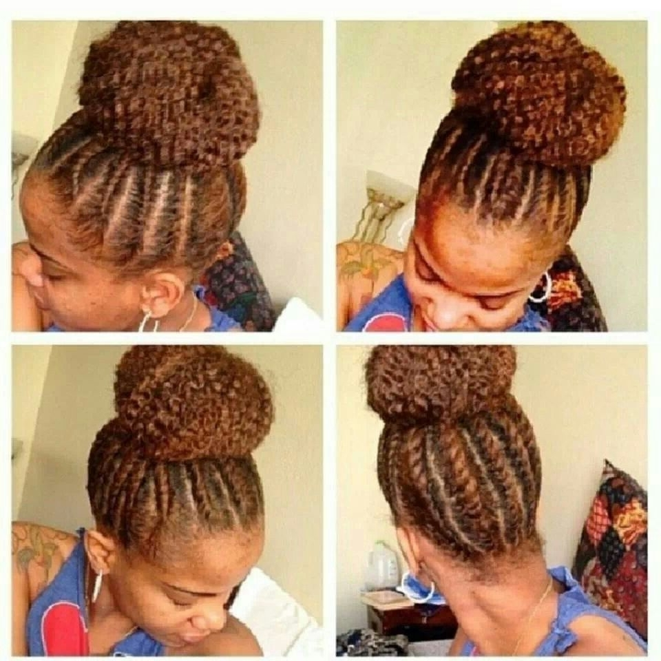 Love This Flat Twist High Bun!! Can't Wait Til My Twa Gets Long Within Favorite Cornrows With High Twisted Bun (View 4 of 15)