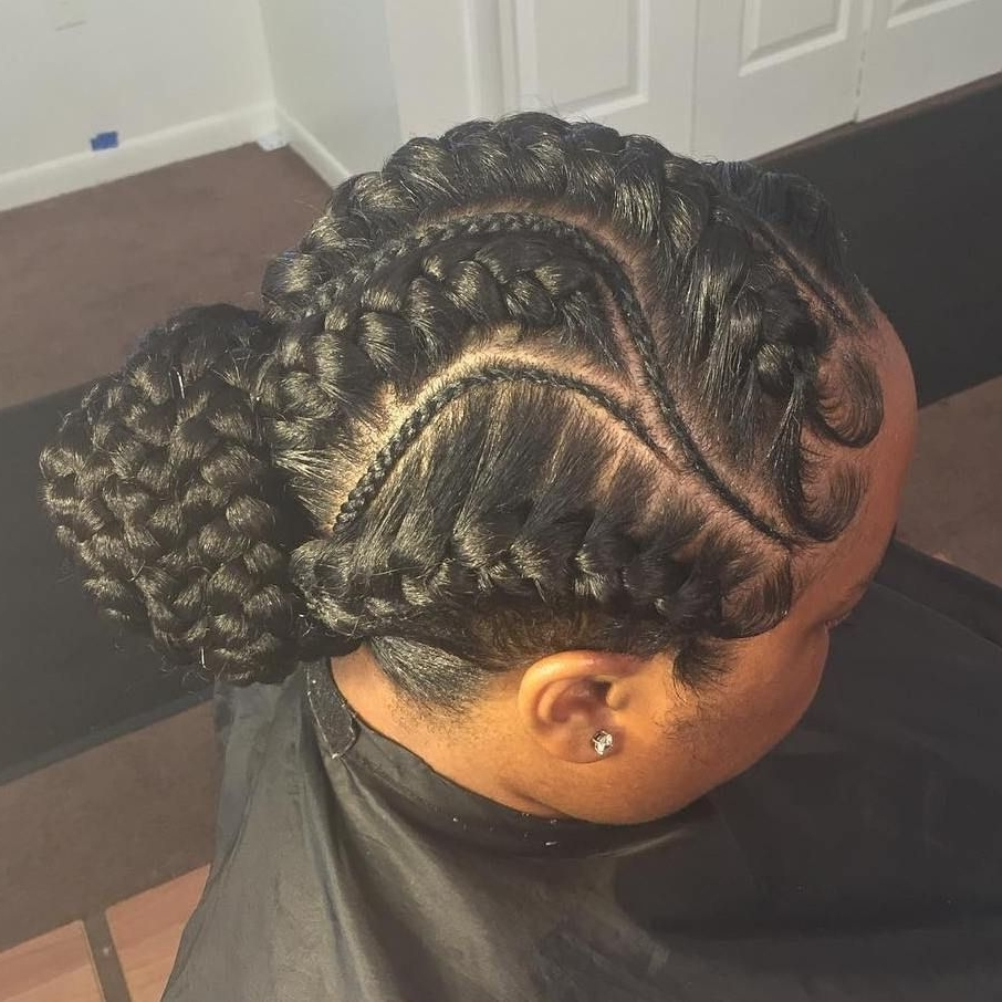 Low Bun Updo With Regard To Famous Curvy Ghana Braids With Crown Bun (View 12 of 15)