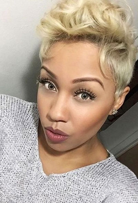 May 2018 – Blonde Hairstyles 2017 With Regard To Trendy Long Honey Blonde And Black Pixie Haircuts (View 11 of 15)