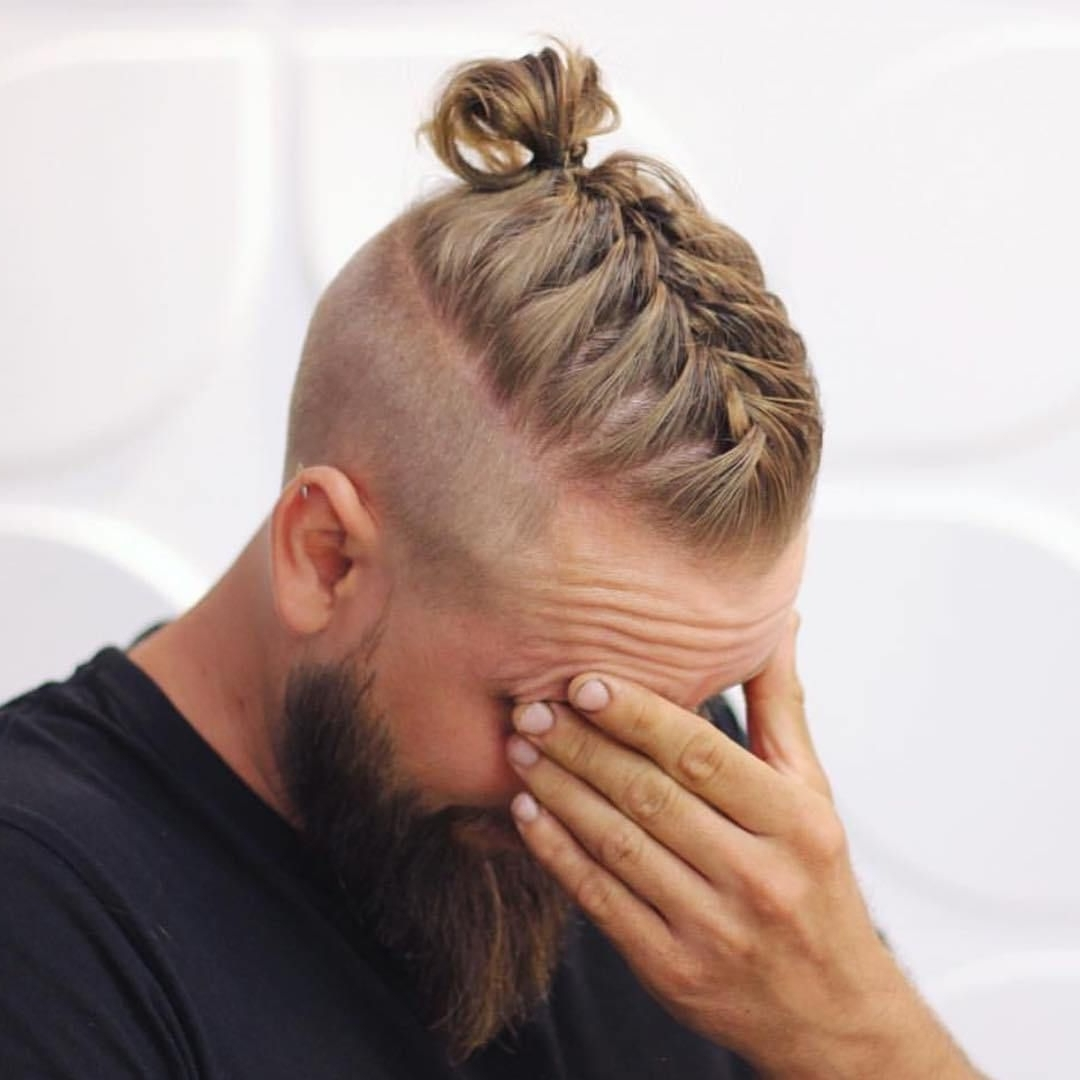 Men Long Hairstyles With Beards,men Braided Bun With Beard,men Bun Intended For Latest Double Bun Mohawk With Undercuts (View 8 of 15)