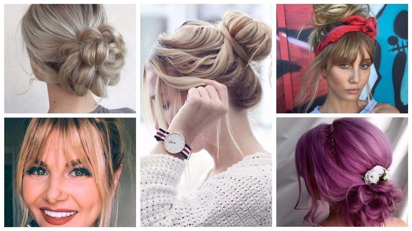 Messy Bun Hairstyles To Refresh Your Look – Hairstyles 2019 New In Best And Newest Casual Bun With Highlights (View 8 of 15)