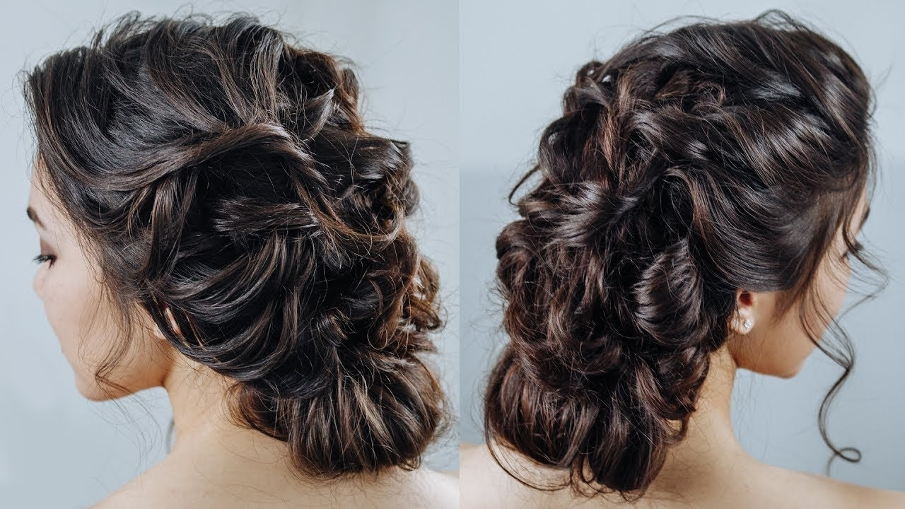 Messy French Braid Updo\ Romantic Boho Braided Hairstyle – Youtube With Most Recently Released Romantic Curly And Messy Two French Braids Hairstyles (View 6 of 15)