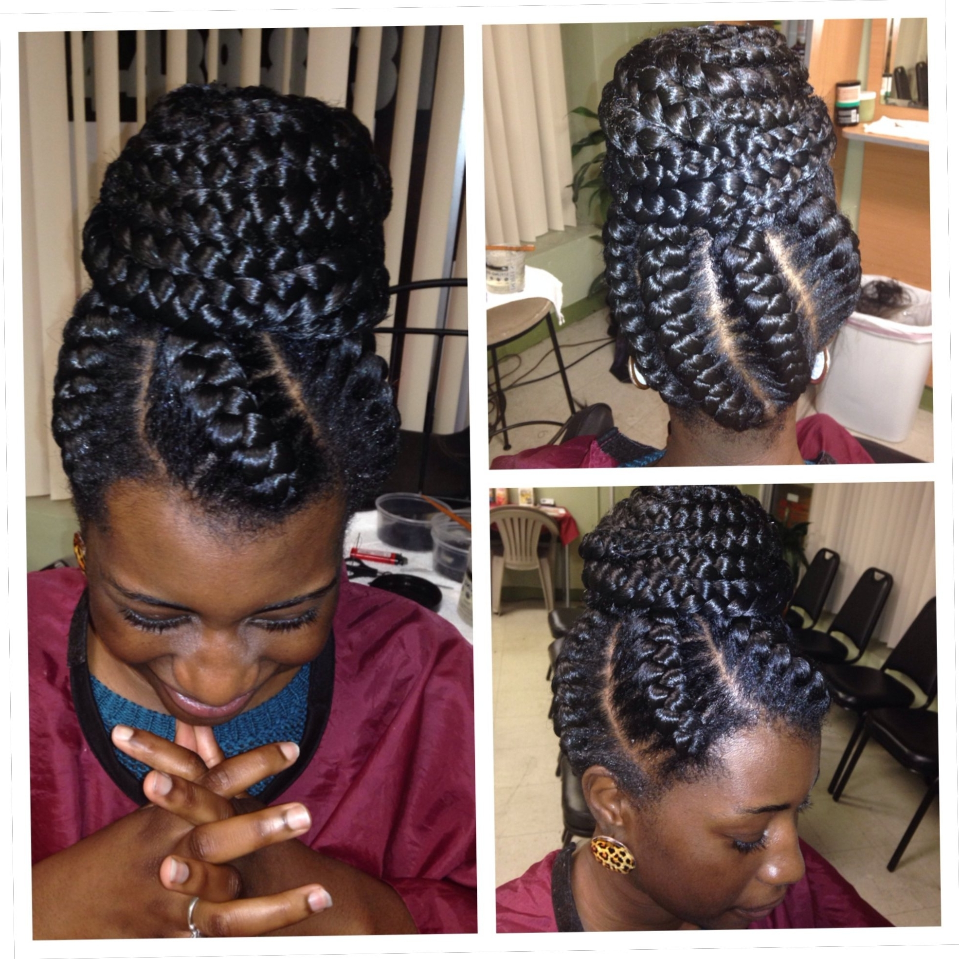 Most Current Cornrows Hairstyles In A Bun Within Big Cornrows In A Bun (View 11 of 15)
