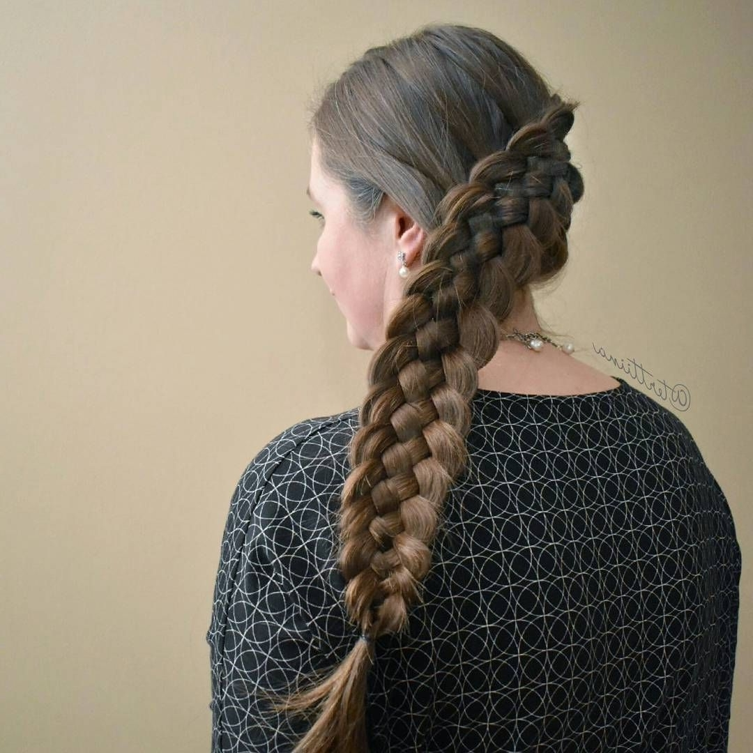 Most Current Diagonal Two French Braid Hairstyles In Diagonal Five Strand Dutch Braid On The Gorgeous Hair Of Dear Friend (View 9 of 15)