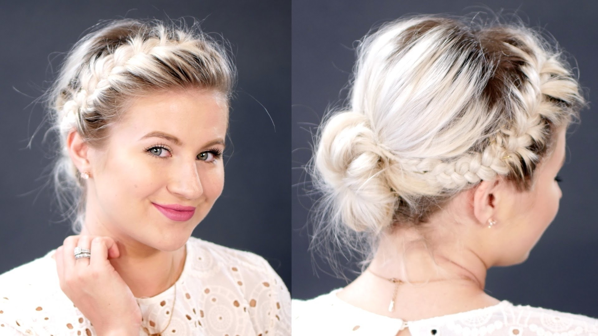 Most Current Side Bun With Double Loose Braids In French Braids Messy Bun For Short Hair (View 10 of 15)