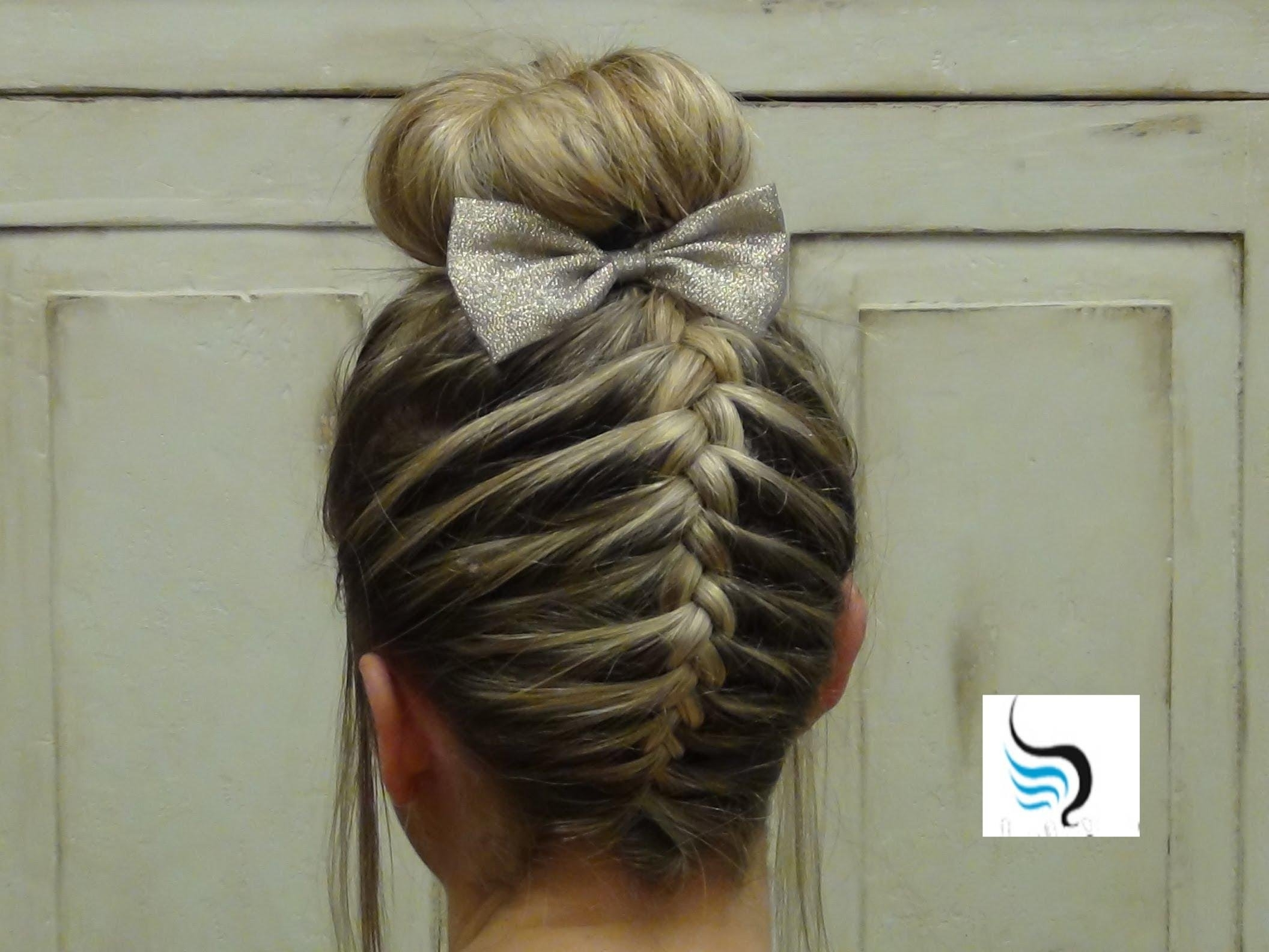 Most Current Updo With Forward Braided Bun In French Braid Sock Bun) Girls Hairstyles – Youtube (View 8 of 15)