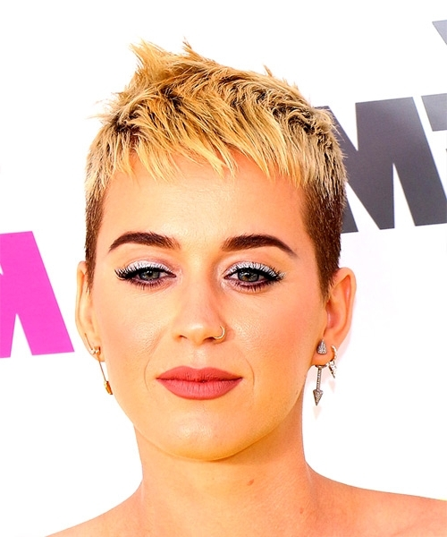 Most Popular Finely Chopped Buttery Blonde Pixie Haircuts In Katy Perry Short Straight Alternative Pixie Hairstyle With Razor Cut (View 10 of 15)