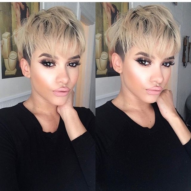 Most Popular Funky Blue Pixie With Layered Bangs Pertaining To 21 Lovely Pixie Cuts With Bangs – Popular Haircuts (View 9 of 15)