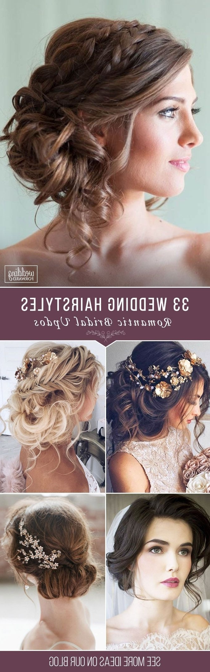 Most Popular Updo With Forward Braided Bun Pertaining To Bridal Hairstyles : 33 Wedding Hairstyles – Romantic Bridal Updos (View 9 of 15)