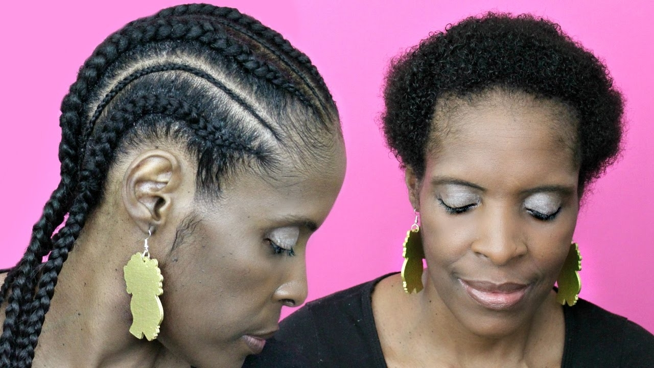 Most Popular Updo With Thin Wavy Feed Ins In Feed In Cornrows With Extensions On Short Hair▻ Natural Hair Twa (View 9 of 15)