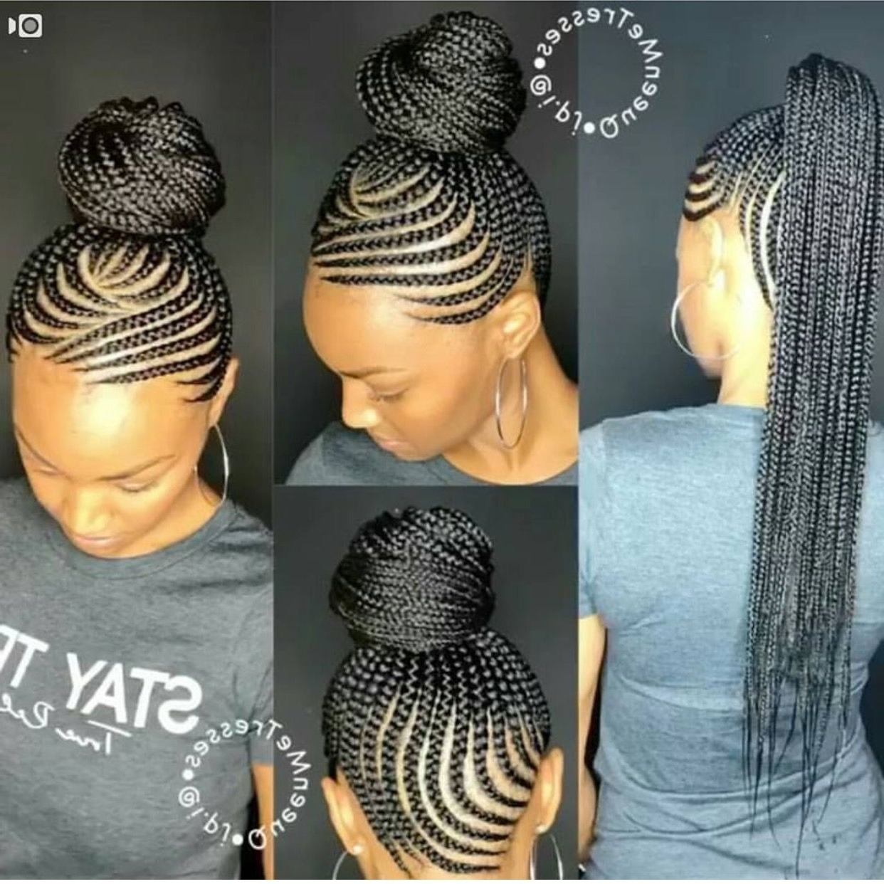 Most Recent Cornrows With High Twisted Bun Within Hair Straightener Brush, Magictec Ceramic Heating Straightening (View 15 of 15)