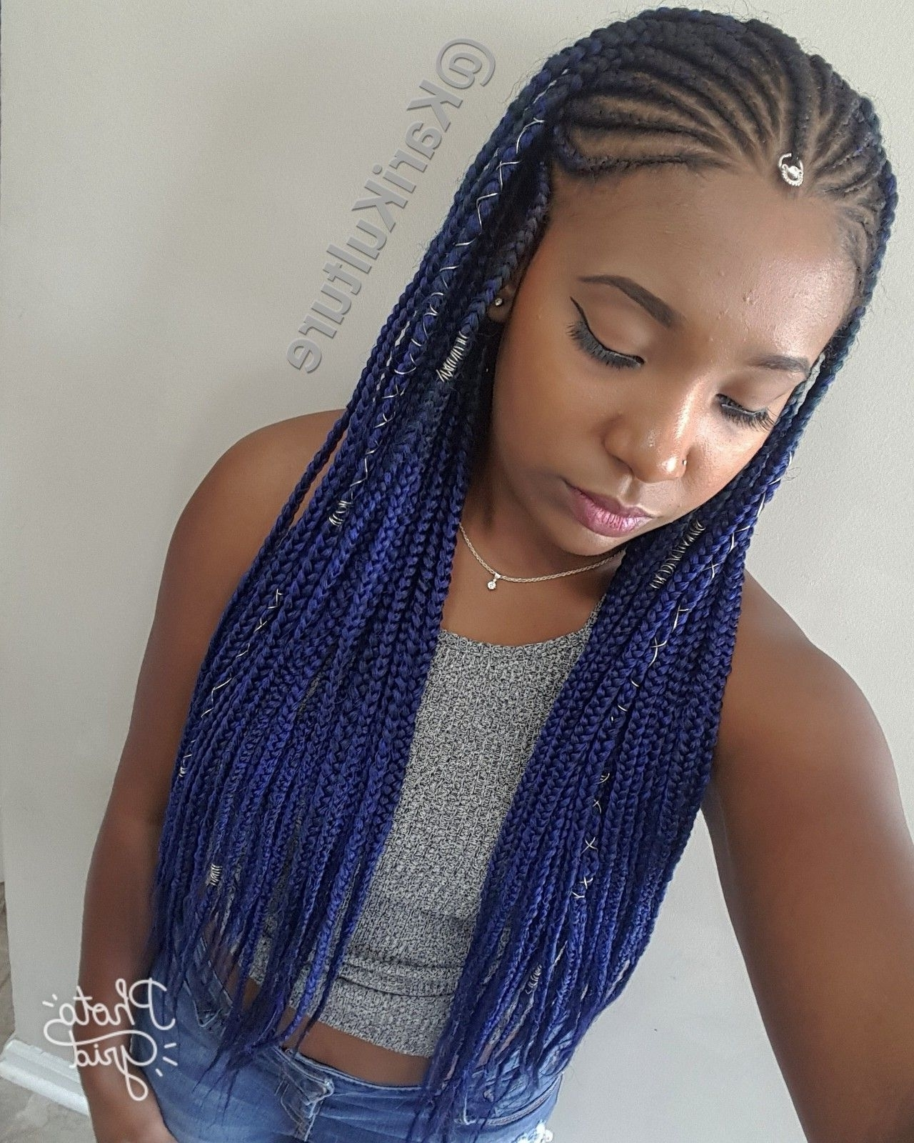 Most Recent Simple Center Part Fulani Braids With A Forehead Bead Pertaining To Fulani Braids Blue Hair Protective Style On Natural Hair Using Feed (View 10 of 15)