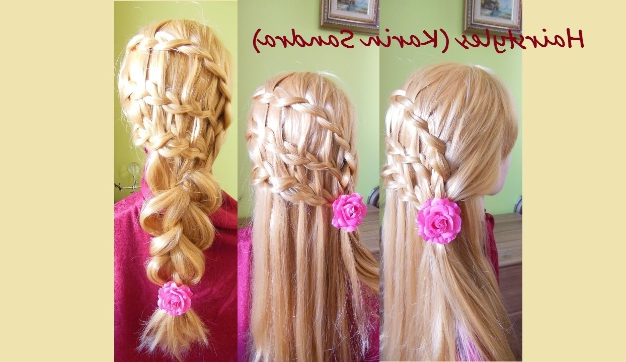 Most Recent Triple The Braids Hairstyles Regarding Triple Waterfall Braid Hairstyle (View 6 of 15)