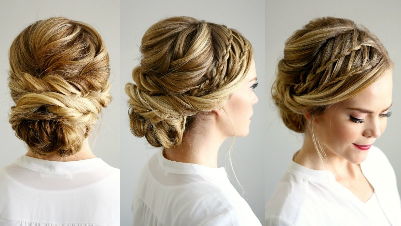 Most Recent Updo With Forward Braided Bun Inside Double Waterfall Braid Updo (View 10 of 15)