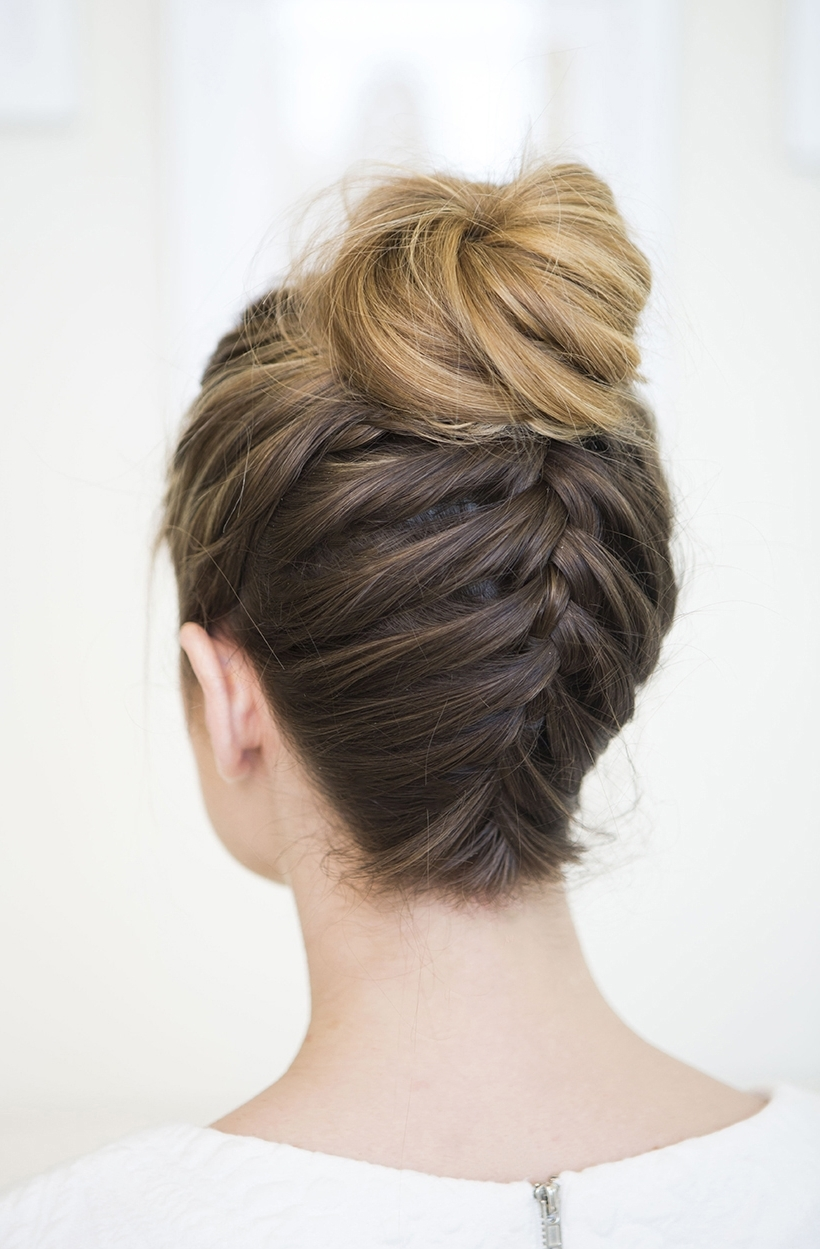 Most Recent Updo With Forward Braided Bun Regarding Upside Down Braided Bun – Camille Styles (View 11 of 15)