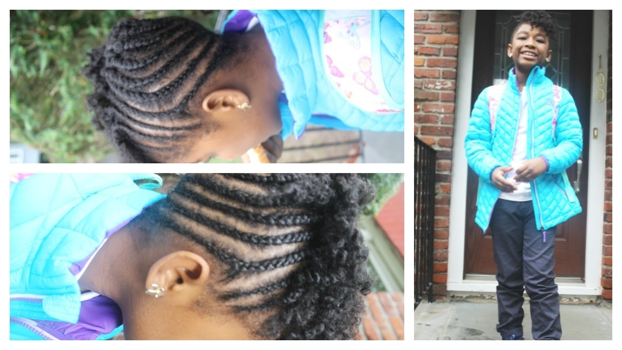 """Most Recently Released Chunky Mohawk Braid With Cornrows Inside Mohawk Braids And Curls On Natural Hair """"coolest 3Rd Grader"""" Back (View 10 of 15)"""