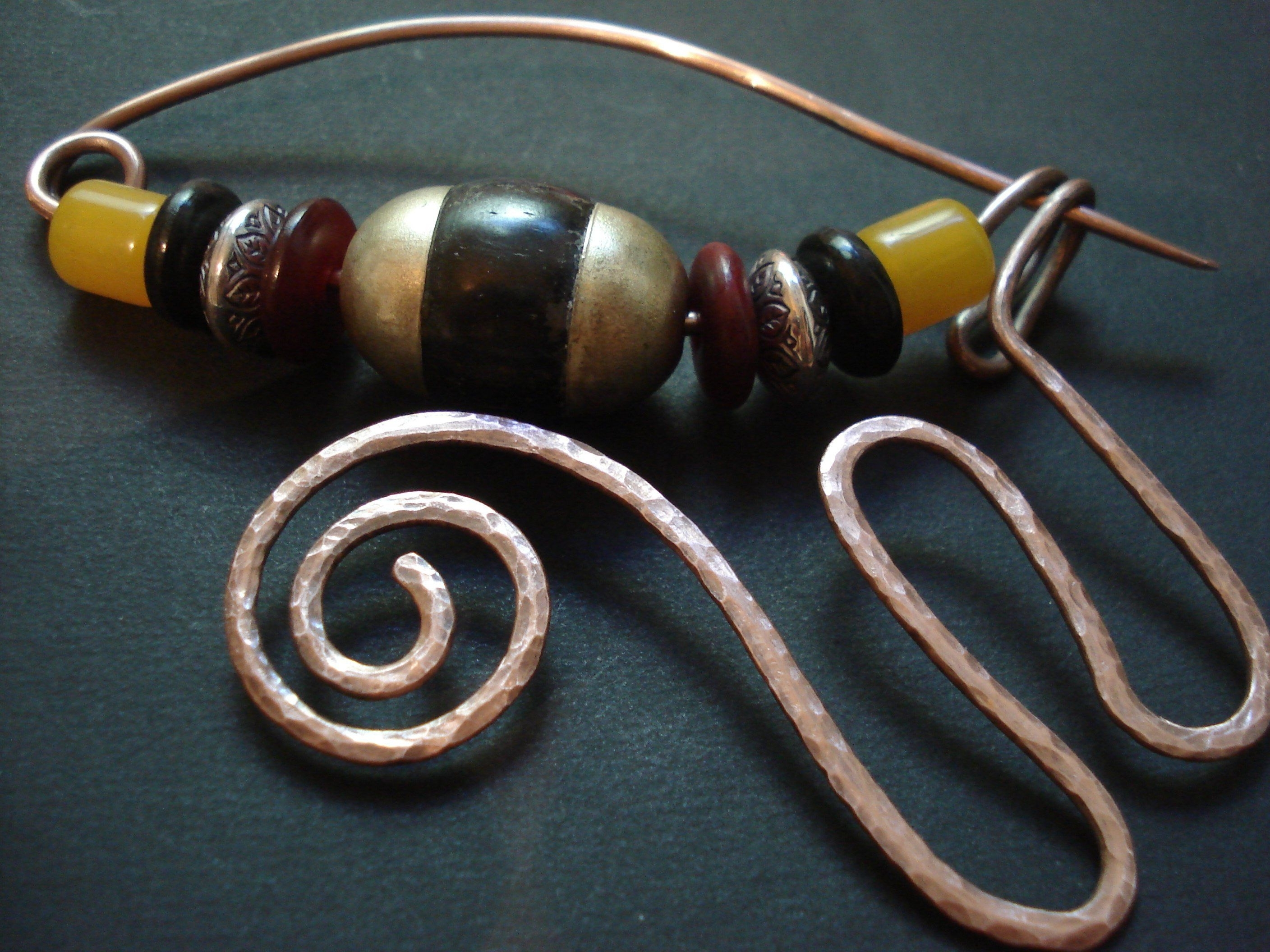 Most Recently Released Ponytail Wrapped In Copper Wire And Beads Pertaining To Hammered Copper Wire Shawl Scarf Pin Amber Tibetan Beads Large Pin (View 8 of 15)