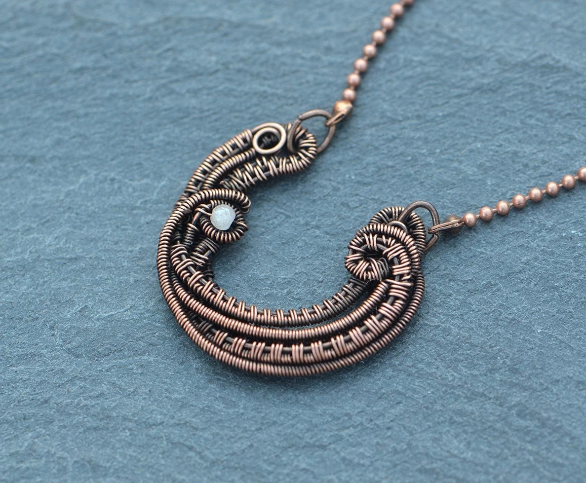 Most Recently Released Ponytail Wrapped In Copper Wire And Beads Within Horseshoe Necklace Pendant Wire Wrapped Necklace Rock Crystal Good (View 7 of 15)