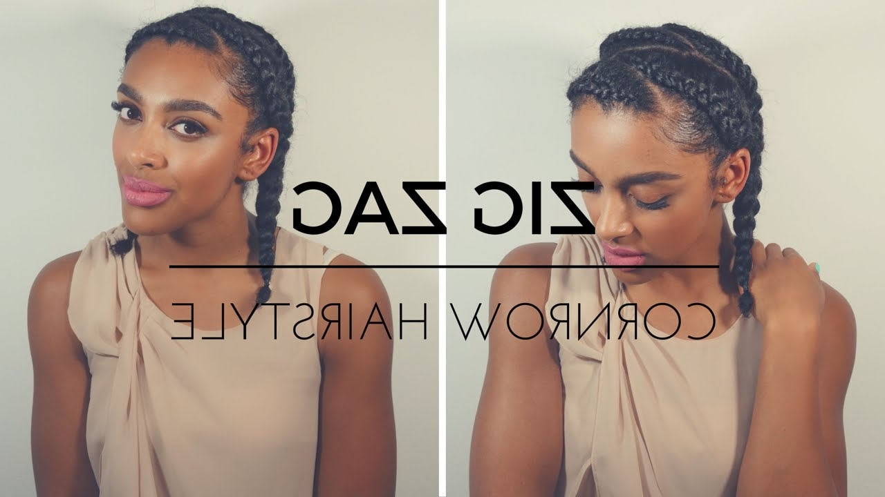 Most Recently Released Zig Zag Cornrows Hairstyles With Regard To Tutorial (View 7 of 15)