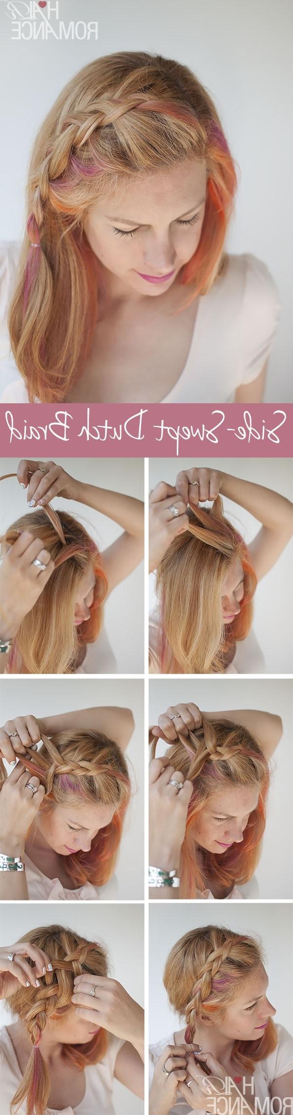 Most Up To Date Braid And Side Bang Hairstyles Intended For Side Swept Dutch Braid Hairstyle Tutorial – Hair Romance (View 12 of 15)