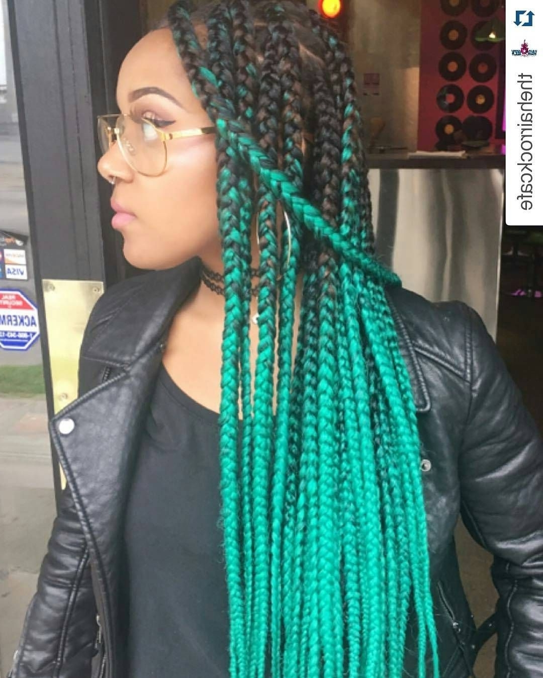 Most Up To Date Extra Long Blue Rainbow Braids Hairstyles Pertaining To 16 Colorful Box Braids To Inspire Your Next Protective Hairstyle (View 3 of 15)