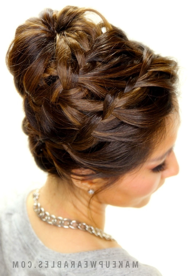 Most Up To Date French Braid Crown And Bun Updo Intended For Epic Braid Bun Tutorial (View 15 of 15)